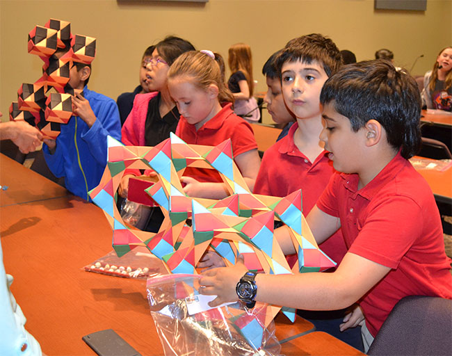 Students examine DNA origami