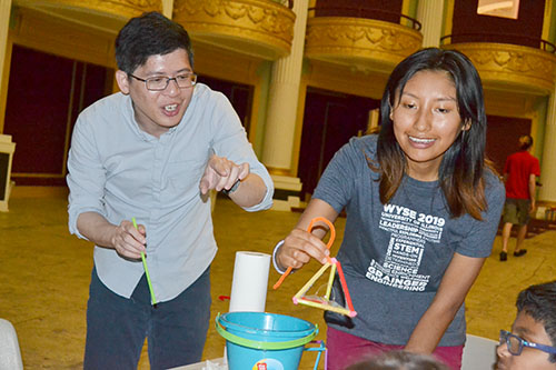Jie Feng and Adriana Coariti demonstrate the bubble activity for youngsters at the Orpheum.