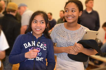 Two contestants enjoying the 4-H robotics competition.
