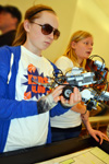 Two contestants competing in the 4-H Robotics Competition