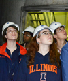 CEE 398 students examine the smoke stacks during a tour of Abbott Power Plant.