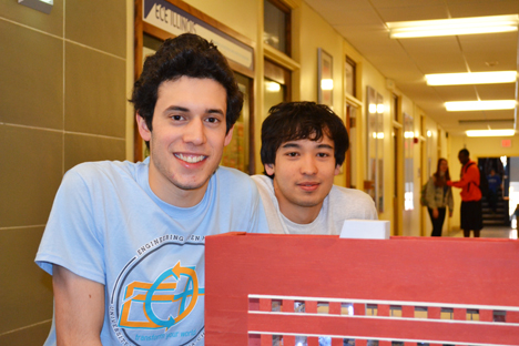 Gillermo Acevedo and Thomas Navidi by the model of the new ECE building they built for EOH 2014.