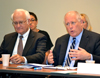 Illinois President Robert Easter (left) and Governor Pat Quinn joined the P-20 Council meeting at NCSA.