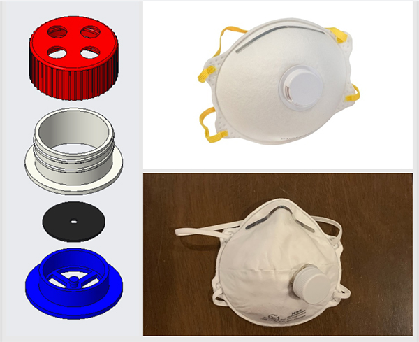 Matt Grendzinski's CAD drawings (left and top right) and actual prototype (bottom right) of a repurpsoed exhalation valve for a face mask. (Photo taken from student's final project website.)