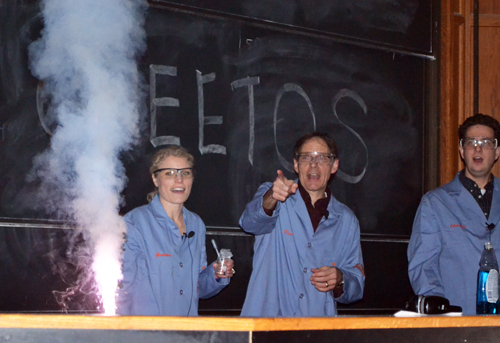 "Gretchen Adams, Don Decoste, and Christian Ray ""ooh"" and ""ah"" during a demo about ""fireworks."""