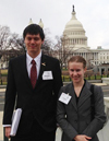 Illinois students Anthony Shvetz and Gloria See stop for a photo in front of the capital building before meeting with representatives.
