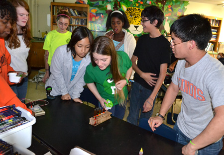 Jefferson Middle School students participate during hands-on activity measuring absorption.