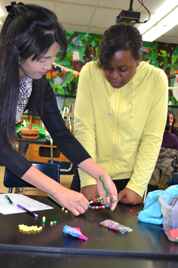 Sua Myong works with Jefferson eighth grader Allegra Amos during lesson on plasmids.