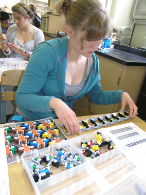 Student in Sone's Human Genetics class uses Lego kit to determine it's usefulness for instruction.