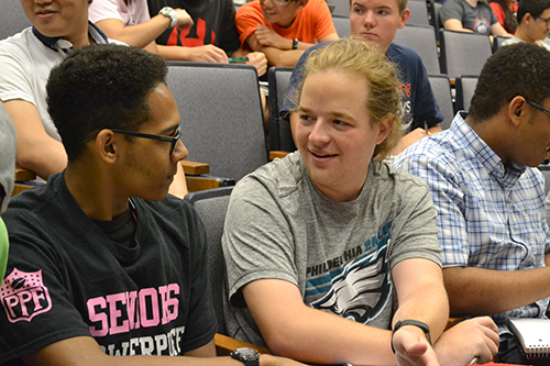 Two students discussing in ME270.
