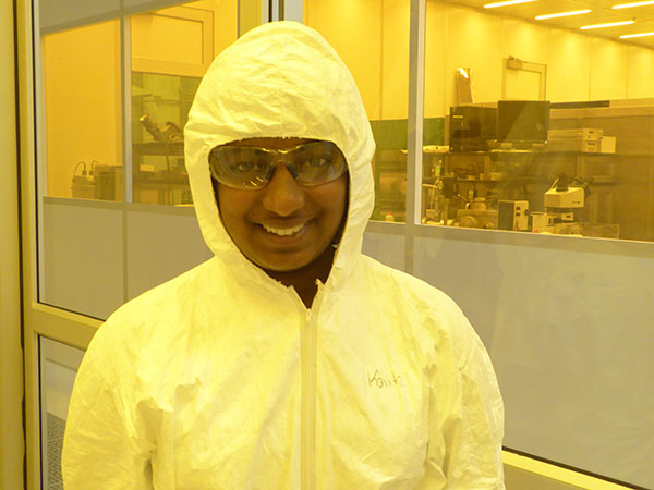 Darin Butz Scholar Nisha Kolagotla ready to conduct research in ECE's Clean Room.