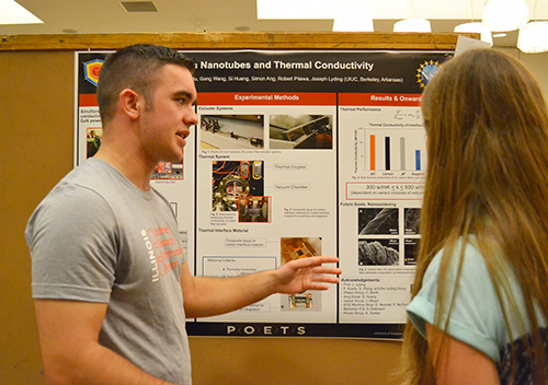 POETS REU participant Andrew Reader presents his research during the Illinois Summer Research Symposium.