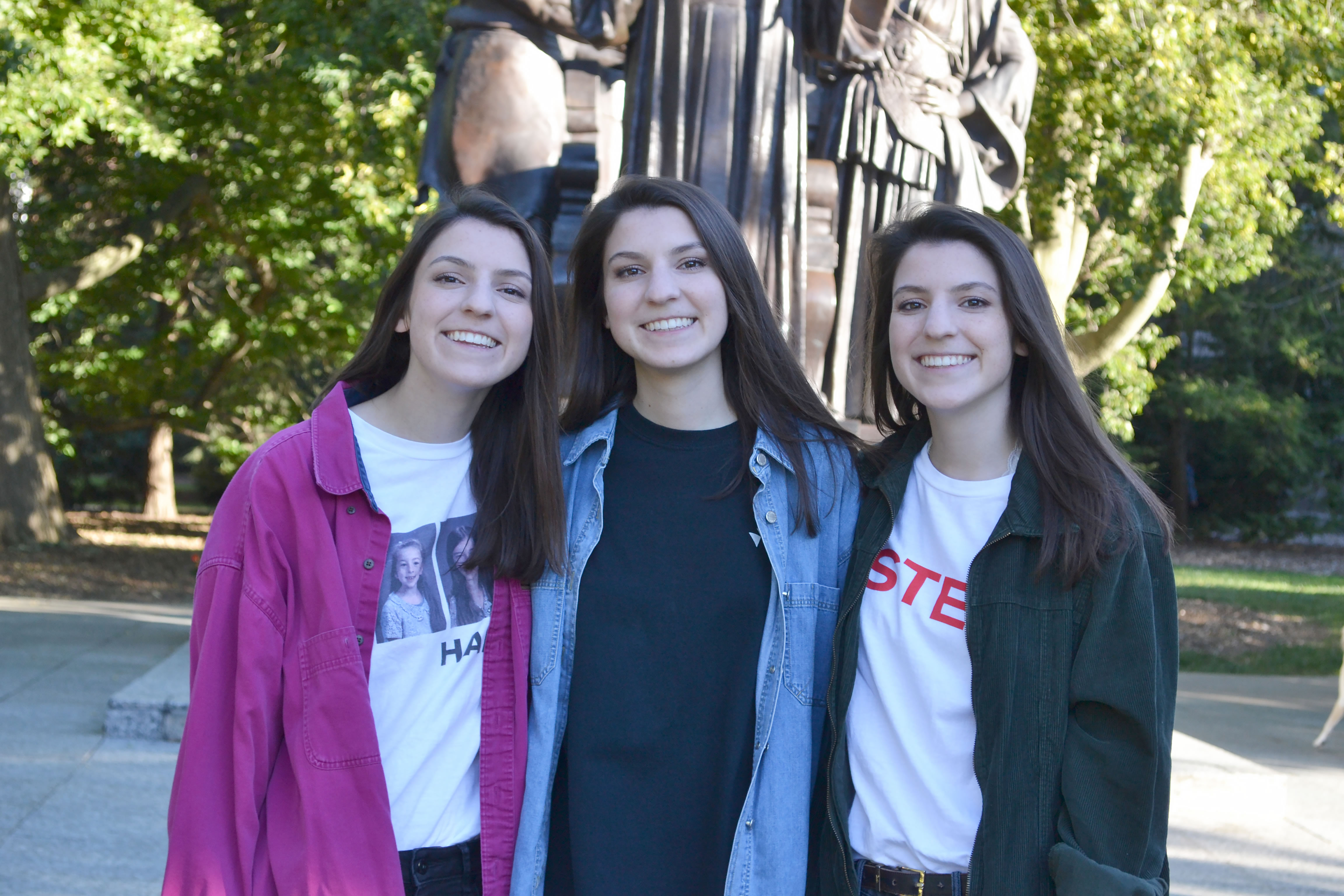 (left to right) Theresa, Frances, and Mary Ponicki in front of the Alma Mater.
