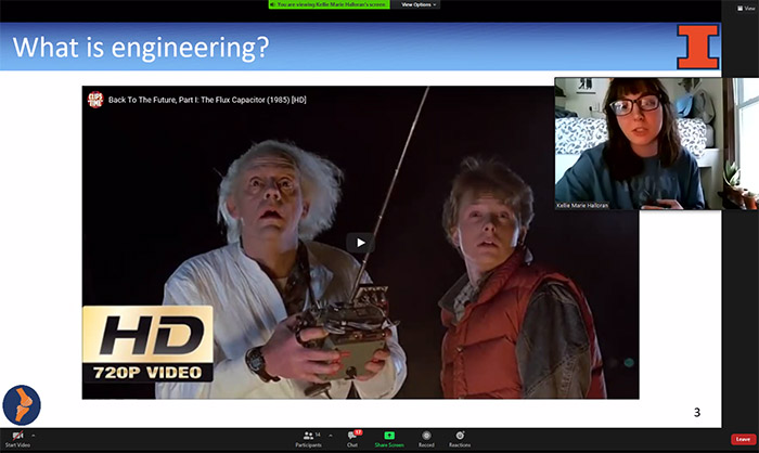 MechSE grad student Kellie Halloran uses a clip about the Flux Capacitor from <em>Back to the Future, Part 1. </em>.