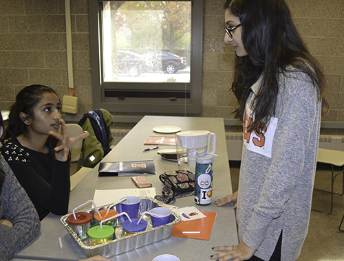 An Illinois Bioengineering freshman Sabeen Rahman (right) interacts with a  'Bioengineer Your Impact' participant during the heart hands-on activity.