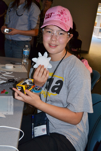 G-BAM camper displays the winning wind turbine design during a visit to the Caterpillar at the Research Park.