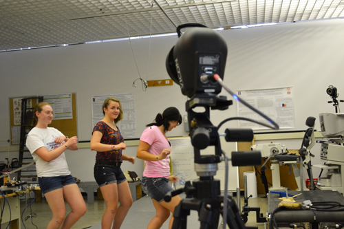 Campers experience motion capture technology.