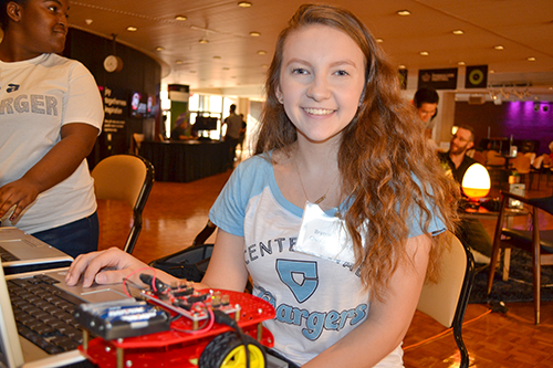 Brynne Kenner, a Centennial High School sophomore, and the completed prototype