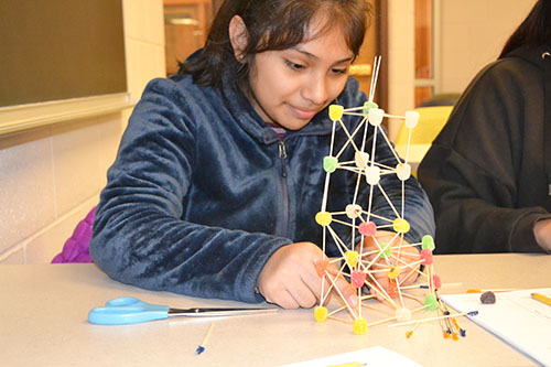 A ChiS&E seventh grader works on her team's toothpick-gumdrop structure.