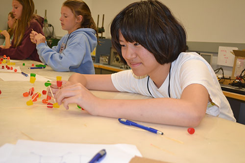During the camp's making stuff stronger segment, a middle schooler works on her team's toothpick/gumdrop structure.
