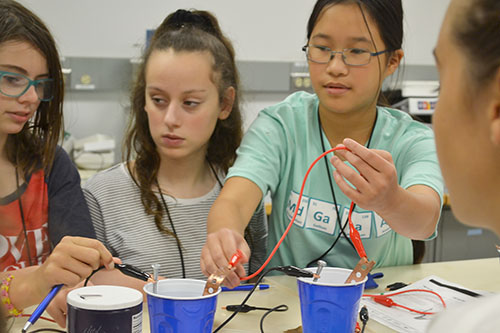 A team of Mid-GLAM campers make a battery using common houshold products, like salt.