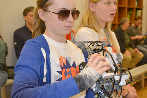 Two contestants compete in a recent 4-H Robotics Competition