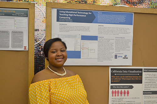 Shelana Martin with her poster at the end-of-the summer Poster Session at NCSA.