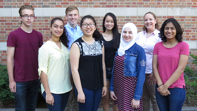 2017 researcHStart students: Back row, left to right: Robert Forsyth, Jarron Roy, Joy Chen, Elizabeth Breen. Front row, left to right: Sarah Matatov, Yichen Yao, Malaak Saadah, Aditi Mehta.(photo courtesy of Ashley Lawrence).