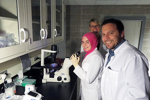 Left to right: 2017 researcHStart student, Malaak Saadah and her mentors Postdoc Kathrin Bohn-Wippert and Professor Roy Dar